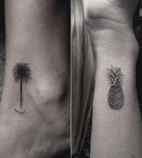 Pineapple tattoo on wrist