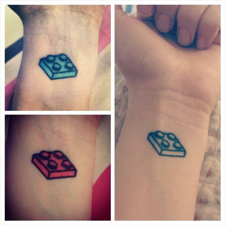 Simple lego brick tattoos on wrist