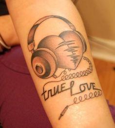 True love headphones tattoo
