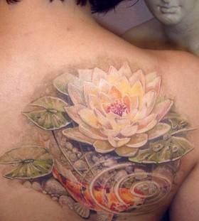 Amazing art lotus flower tattoo