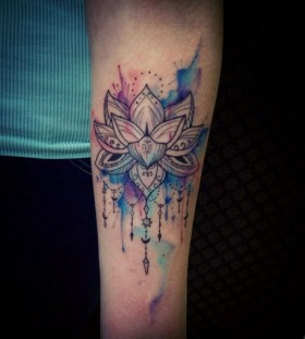 Watercolor blue lotus flower tattoo