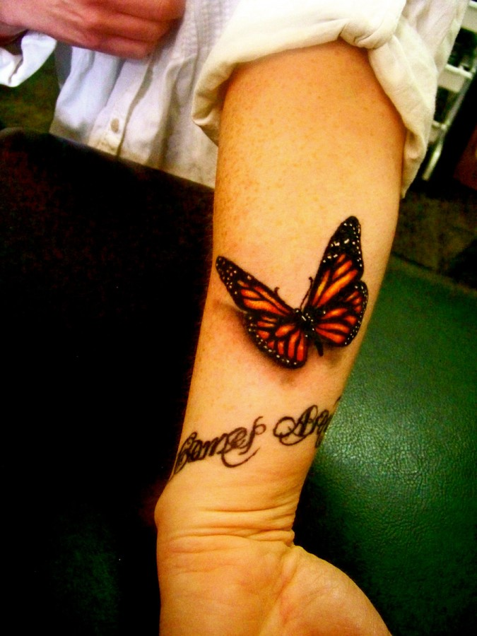 3D quote and red butterfly tattoo