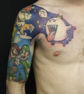 Adorable hand mario style tattoo