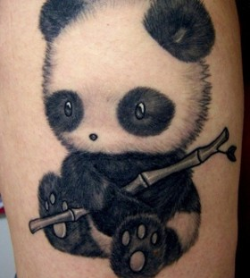 Adorable panda bear tattoo