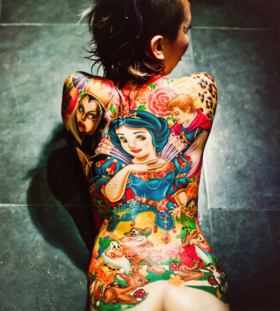 Amazing Snow White full back tattoo