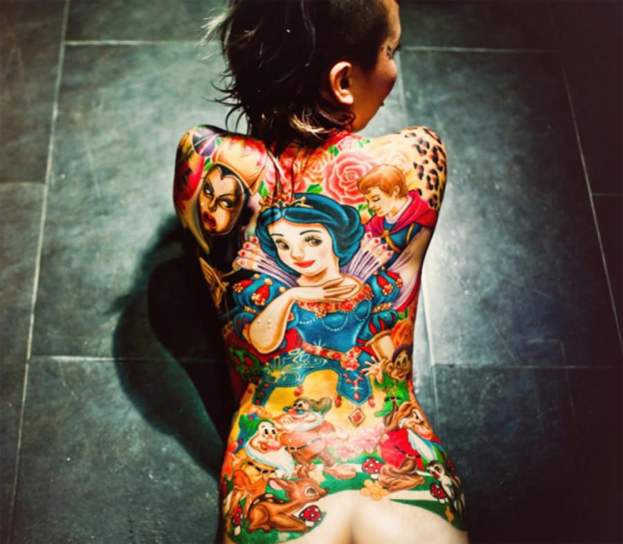 Amazing Snow White full back tattoo