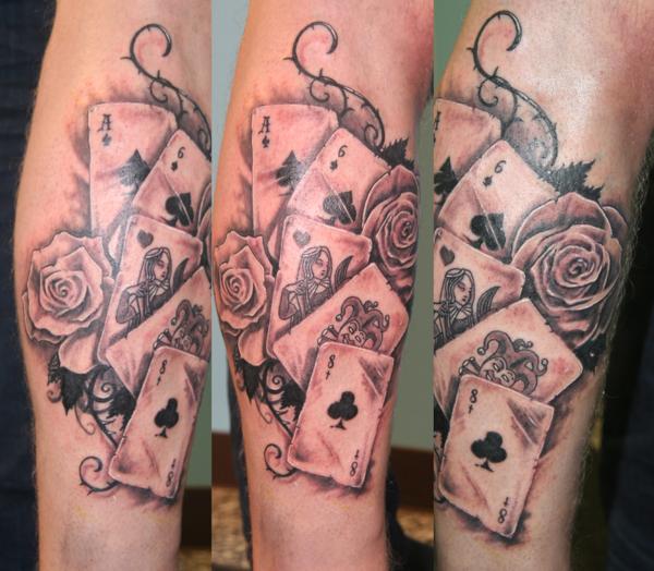 amazing card leg tattoo   tattoomagz › tattoo designs