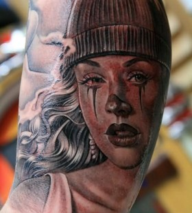 Amazing clown girl tattoo