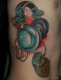 Amazing colorful headphones tattoo