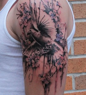 Amazing dove shoulder tattoo