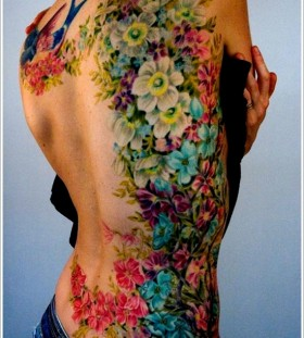 Amazing orchid back tattoo