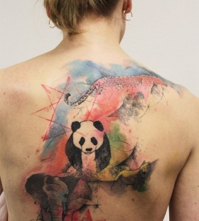 Amazing panda and elephant back tattoo