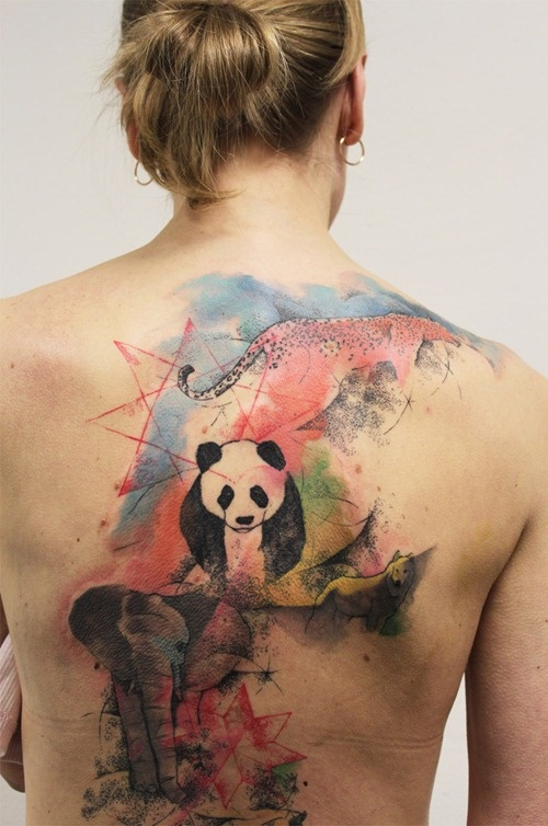 8fae75b31 Amazing panda and elephant back tattoo - | TattooMagz › Tattoo ...