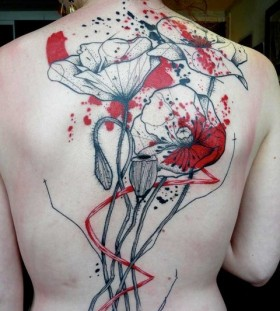 Amazing poppy flower back tattoo