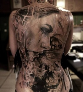 Amazing women's face full body tattoo