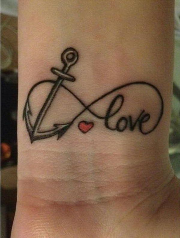 Anchor and red infinity tattoo