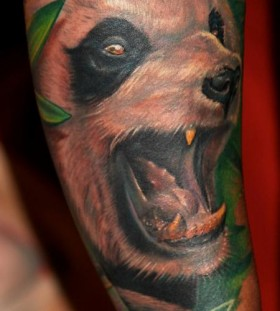 Angry panda arm tattoo