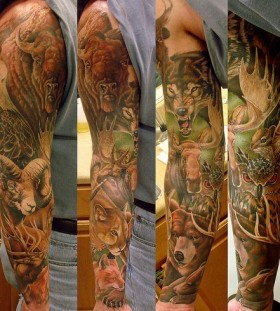 Arm's different animal tattoo