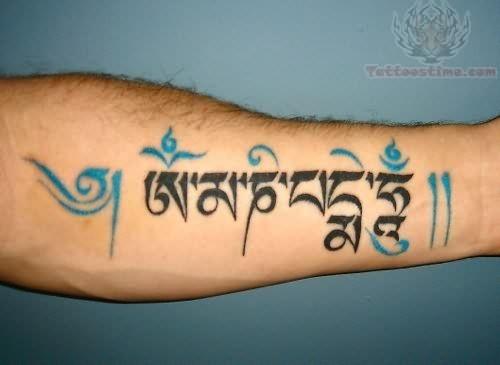Awesome blue and black Tara Mantra tattoos