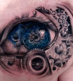 Awesome blue detailed eye tattoo