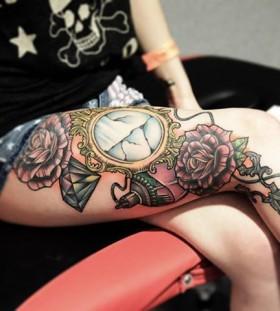 Awesome broken mirror leg tattoo