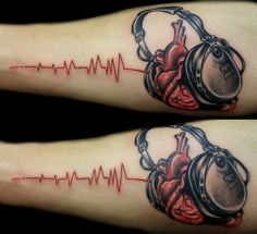 Awesome colorful headphones tattoo