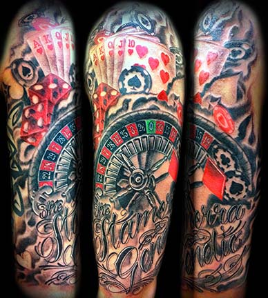 Awesome gambling theme full arm tattoo