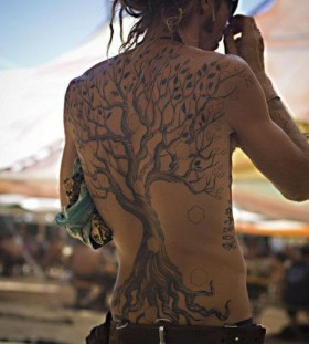 Awesome hippie tree back tattoo