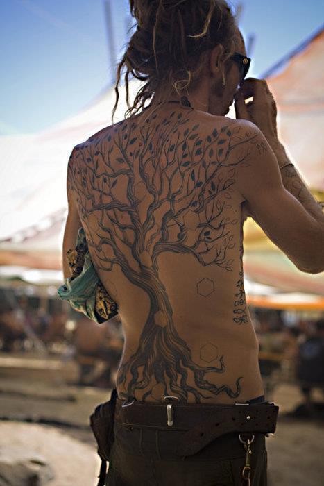 Awesome hippie tree back tattoo