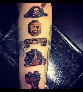 Awesome lego pirate man tattoo