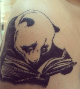Awesome reading panda bear tattoo