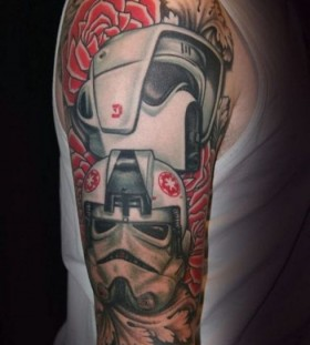 Awesome robot full arm tattoo