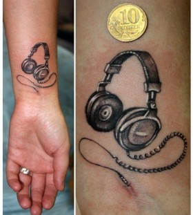 Awesome small headphones tattoo
