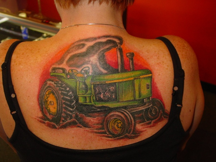 Awesome tractor tattoo on back