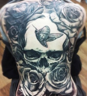 Back full rose tattoo