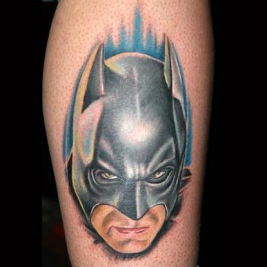 Batman head tattoo