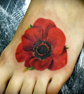 Black and red poppies tattoo