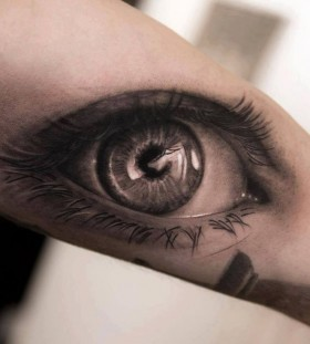 Black and white eye tattoo