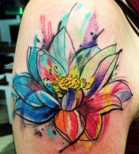 Black cute flower watercolor tattoo