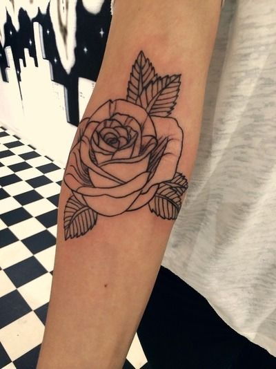 Black lines and rose tattoo