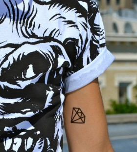 Black lines diamond tattoo on arm
