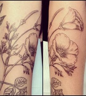 Black lines poppies tattoo