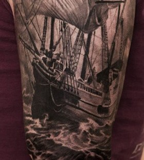 Black ships full body tattoo