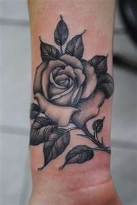 Black simple rose tattoo
