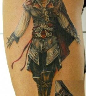 Black soldier game tattoo