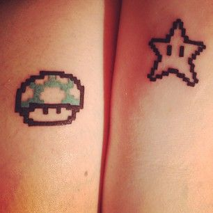 Black star and mario style tattoo
