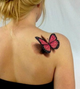 Blonde girl's and red butterfly tattoo