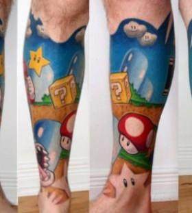 Blue legs mario style tattoo
