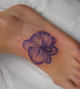Blue orchid foot tattoo