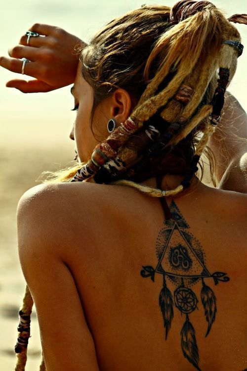 Bohemian dreamcather back tattoo
